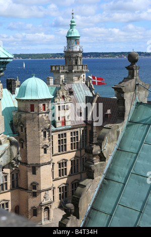 Kronborg palace (Hamlets Elsinore Castle), Helsingor, Zealand, Denmark - Stock Photo