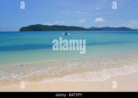A view from the beach on Pulau Mamutik Tunku Abdul Rahman National Park nr Kota Kinabalu Sabah Malaysia - Stock Photo