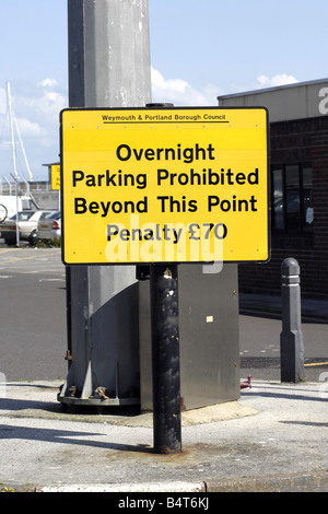 Overnight Parking prohibited sign with a penalty of 70 - Stock Photo