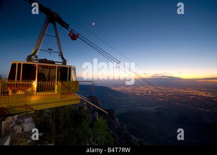 USA, New Mexico, Albuquerque from Sandia Mountains, Sandia Peak Tramway (cablecar) - Stock Photo