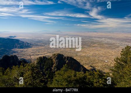 USA, New Mexico, Albuquerque from Sandia Mountains - Stock Photo