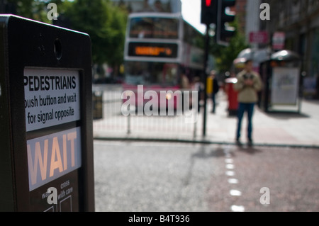 Pedestrian (Pelican) crossing with 'Wait' illuminated. - Stock Photo