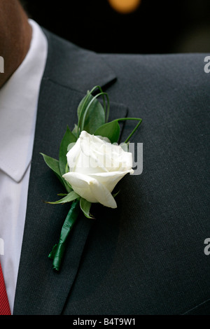 flowers floral display  wedding celebration celebrations anniversary occasion event society white corsage - Stock Photo