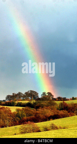 A rainbow appears over the hills in Worcestershire 2003 - Stock Photo