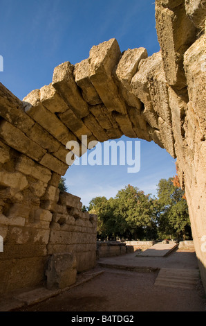 Arch over tunnel to Stadium Sanctuary of Olympia Peloponnese Greece - Stock Photo