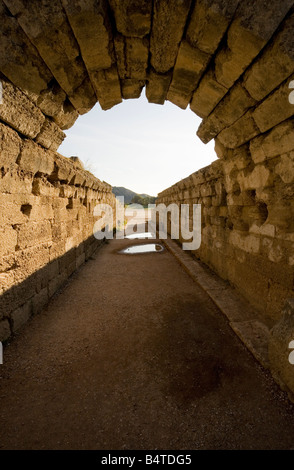 Arch over tunnel leading to stadium Sanctuary of Olympia Peloponnese Greece - Stock Photo