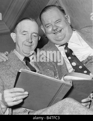 Laurel Hardy Comedy duo Stan Laurel and Oliver Hardy Typical expressions of Laurel and Hardy studying script at - Stock Photo