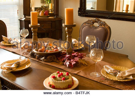 Elegant Dining Room Table Setting With Napkin Ring, Usa Stock