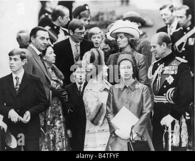 The wedding of Princess Anne and Capt Mark Phillips at Westinster Abbey 14 November 1973 The Royal Family relax - Stock Photo