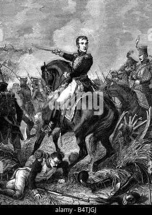 Lannes, Jean, 10.4.1769 - 31.5.1809, French General,  in the Battle of Aspern-Essling, 21.5.1809, wood engraving, - Stock Photo