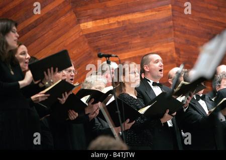 Chorus, Boston Landmarks Orchestra performance at the Hatch Shell, the Esplanade, Boston, Massachusetts - Stock Photo