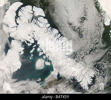 Satellite view of Sirmilik, Baffin Island, Canada - Stock Photo