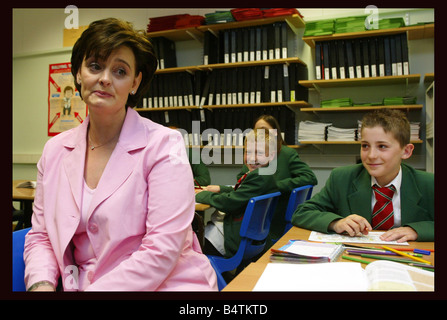 Tony Blair visits Highland school in Enfield North London April 2005 Accompanied by his wife Cherie Blair The Prime - Stock Photo