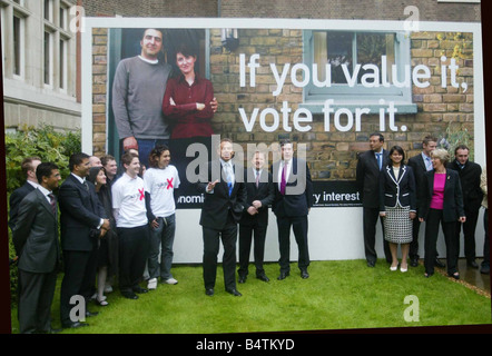 Unveiling a new campaign poster today on the economy Prime Minister Tony Blair said the General Election on 5 May - Stock Photo
