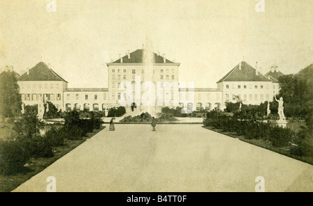 geography / travel, Germany, Munich, Nymphenburg Castle, exterior view, 2nd half 19th century,  , - Stock Photo