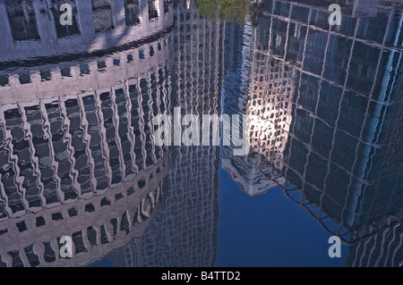 City reflections in Canary Wharf - Stock Photo