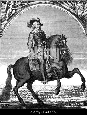 Torstensson, Lennart, 17.8.1603 - 7.4.1651, Swedish General, equestrian image, copper engraving, 17th century, , - Stock Photo