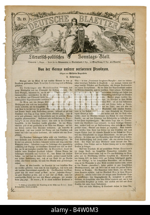 press/media, magazines, 'Deutsche Blaetter', literary - political sunday paper, number 19, 1865, title page, Additional - Stock Photo