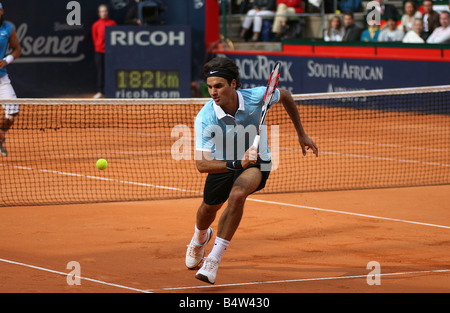 Roger Federer (SUI) in action against Rafael Nadal (ESP) ATP Masters Series tennis tournament in Hamburg Germany - Stock Photo
