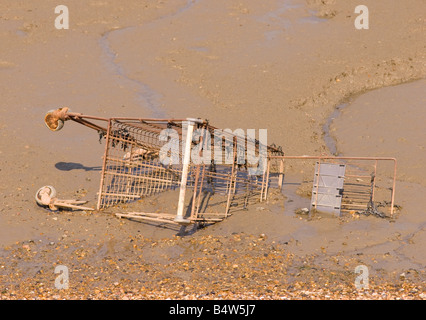 Shopping trolley dumped in a river - Stock Photo