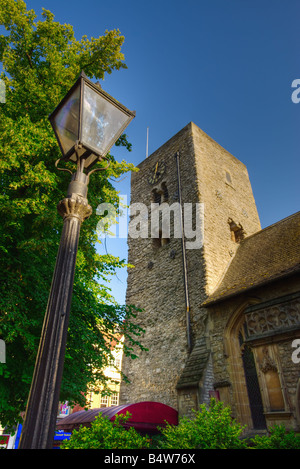 Saxon Tower of St Michael at the North Gate Church, Cornmarket, Oxford, England, UK (portrait version) - Stock Photo