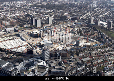 Aerial view south east of Westfield White City Development Construction Site BBC Television Centre Wood Lane tower - Stock Photo