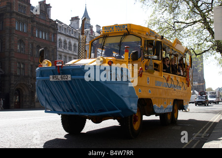 Original Duck Tours amphibious bus boat on Whitehall City of Westminster SW1 London England - Stock Photo