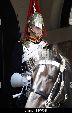 Soldier of the Household Cavalry from the Blues and Royals regiment mounted in Whitehall CIty of Westminster SW1 - Stock Photo