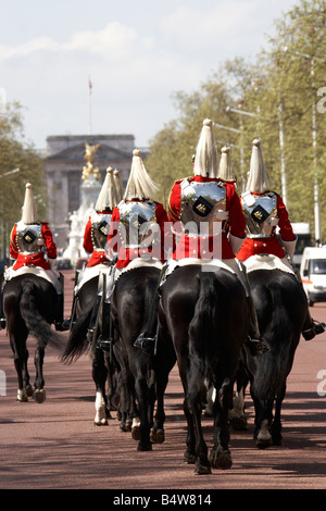 Group of mounted soldiers of the Household Cavalry from The Life Guards regiment on The Mall CIty of Westminster - Stock Photo