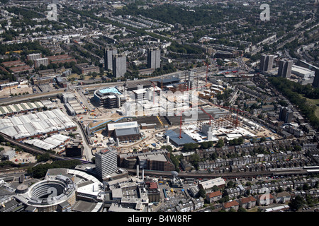 Aerial view south east of BBC TV Centre Wood Lane Westfield White City Development Construction Site London W12 - Stock Photo