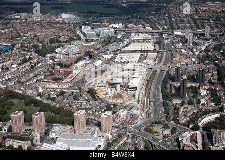 Aerial view north west of Westfield White City Development Construction Site West Cross Route suburban houses tower - Stock Photo