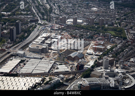 Aerial view south east of Westfield White City Development Construction Site West Cross Route BBC Television Centre - Stock Photo