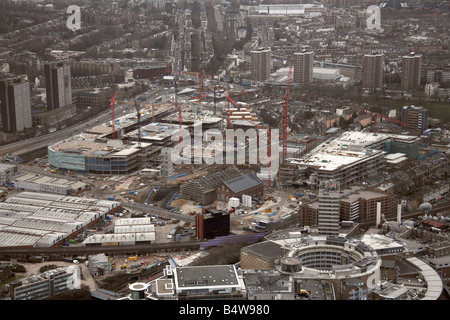 Aerial view south east of Westfield White City Development Construction Site West Cross Route BBC TV Centre Wood - Stock Photo