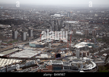 Aerial view south east of Westfield White City Development Construction Site BBC Television Centre Wood Lane London - Stock Photo