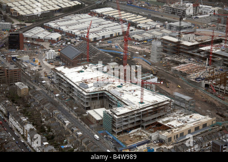 Aerial view north east of Westfield White City Development Construction Site suburban houses Wood Lane London W12 - Stock Photo