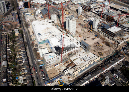 Aerial view of north east of Westfield White City Development Construction Site Wood Lane Bulwer Street London W12 - Stock Photo