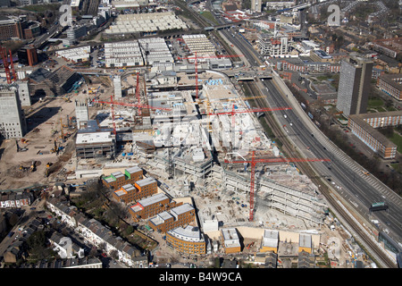 Aerial view of north of Westfield White City Development Construction Site West Cross Route London W12 England UK - Stock Photo