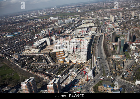 Aerial view north west of Westfield White City Development Construction Site West Cross Route London W12 England - Stock Photo