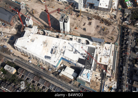 Aerial view north east of Westfield White City Development Construction Site Wood Lane London W12 England UK 15th - Stock Photo