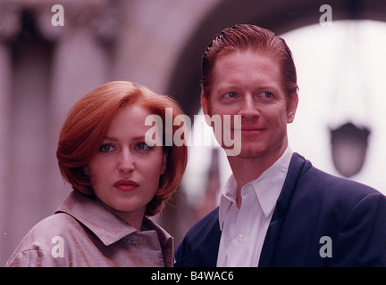 Actress Gillian Anderson the star of the television programme The X Files in Glasgow with Eric Stoltz to make the - Stock Photo