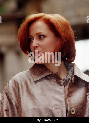 Actress Gillian Anderson the star of the television programme The X Files in Glasgow to make the film House of Mirth - Stock Photo