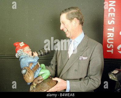 Prince Charles and a garden gnome November 1998 The gnome was a 50th birthday gift from royal photographers from - Stock Photo