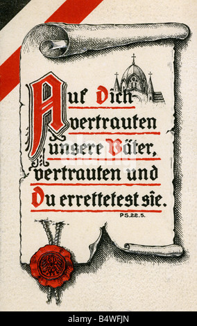events, First World War / WWI, military postcards, postcard 'Auf Dich vertrauten unsere Vaeter, vertrauten und Du - Stock Photo