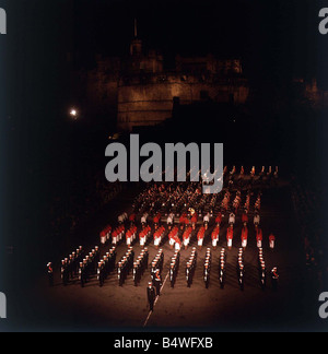 Edinburgh Tattoo 23rd of August 1965 finale with massed pipe band and Fijian Military Forces Band - Stock Photo