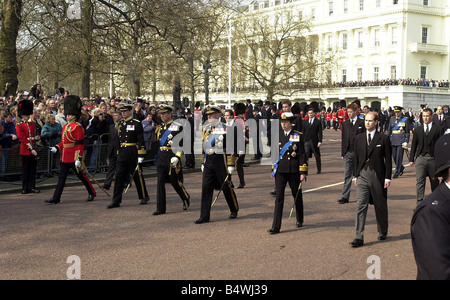 Prince Andrew Prince Charles Prince Philipp Princess Anne Prince Edward Earl of Wessex first row L R Viscount Linley - Stock Photo