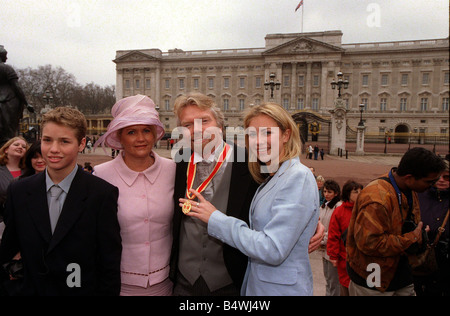 Sir Richard Branson March 2000 after the Investiture at Buckingham Palace conducted by Prince Charles with his wife - Stock Photo