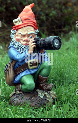 Garden Gnome Photographer with Camera November 1998 Prince Charles 50th Birthday Present from the Mirror Sun Telegraph - Stock Photo