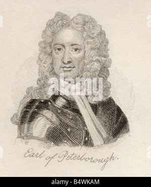 Charles Mordaunt 3rd Earl of Peterborough and 1st Earl of Monmouth 1658 to 1735. English nobleman and military leader. - Stock Photo