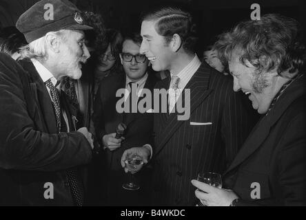 Prince Charles laughs merrily with two of his heroes Harry Secombe and Spike Milligan at the launching of their - Stock Photo