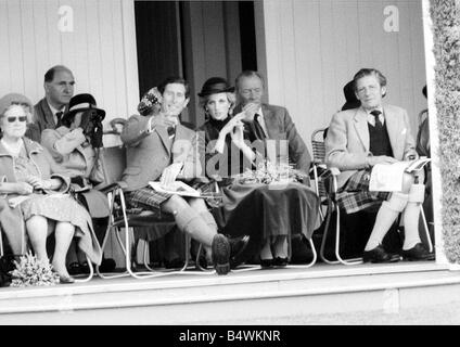 Prince Charles Princess Diana and The Queen Mum September 1983 Royalty at the Braemar for the Highland games - Stock Photo